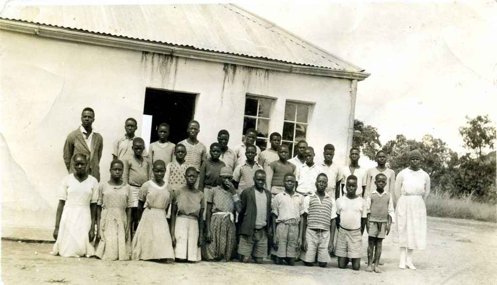Mrs E K Hove  (far right) with her class, Masase c1940s